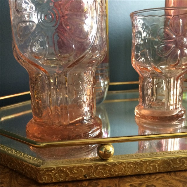 Brass Mirrored Tray With Pink Vintage Barware - Image 7 of 10