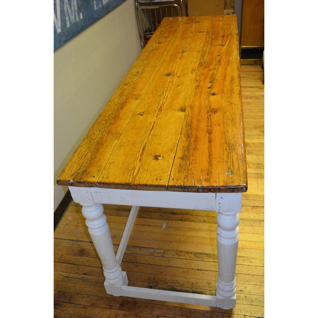 Kitchen Island Restaurant Prep From Rectory Table 100 Years Old. Ships Free. For Sale - Image 4 of 11