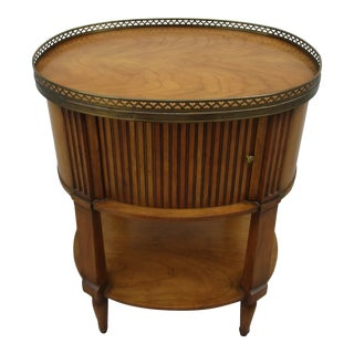 Baker Furniture Nightstand With Tambour Door and Brass Gallery For Sale