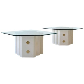 Pair of White Lacquered Side Tables For Sale
