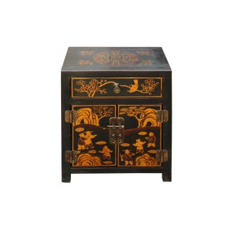 Oriental Black Lacquer Golden People Graphic End Table Nightstand For Sale