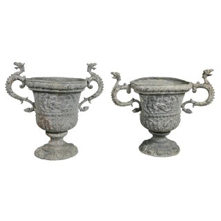 Matched Pair of Cast Lead Garden Urns For Sale