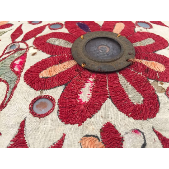 19th Century Rajasthani Colorful Embroidery and Mirrored Decorative Pillow For Sale - Image 9 of 11