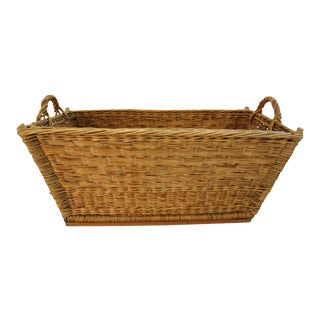 1940s French Wicker Market Laundry Basket
