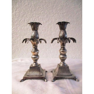 1950s Silverplate Pineapple Figural Candle Holders - a Pair Preview