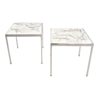 Pair of Marble and Stainless Steel side tables For Sale