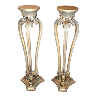 Italian Carved Venetain Style Claw Foot Plant Stands - a Pair For Sale