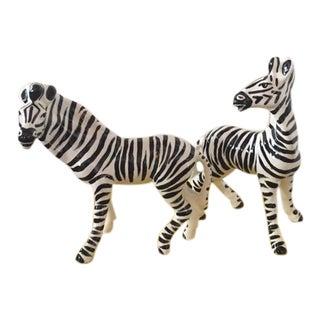 Italian Mid-Century Porcelain Zebras - a Pair For Sale