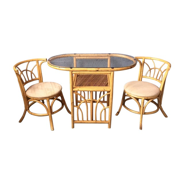 Vintage 1980s Bamboo Dining Set For Sale