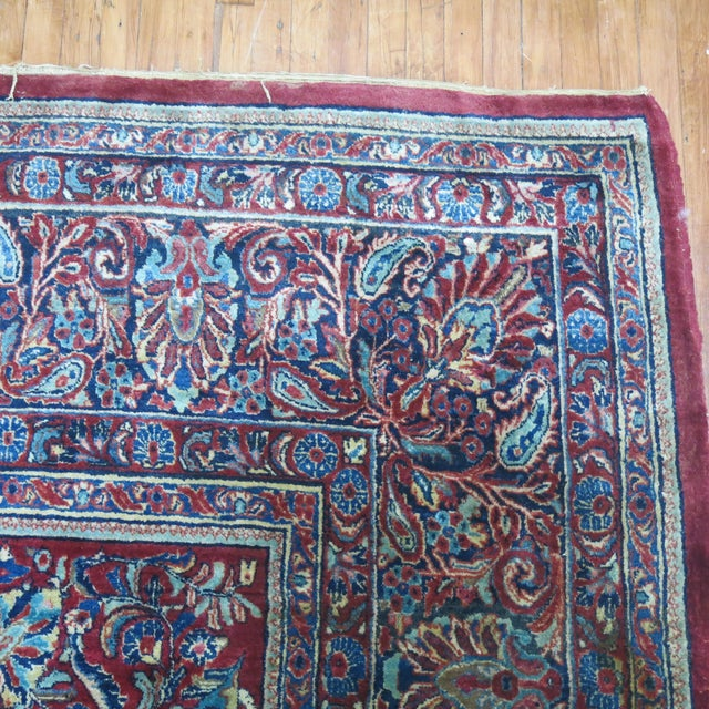 """Antique Red & Blue Persian Sarouk Rug - 10'4"""" x 20'6"""" For Sale - Image 4 of 8"""