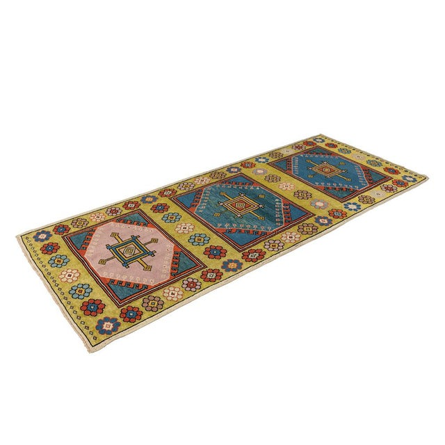 Mid 20th Century Vintage Yellow Turkish Runner Rug 3'x7' For Sale - Image 5 of 5