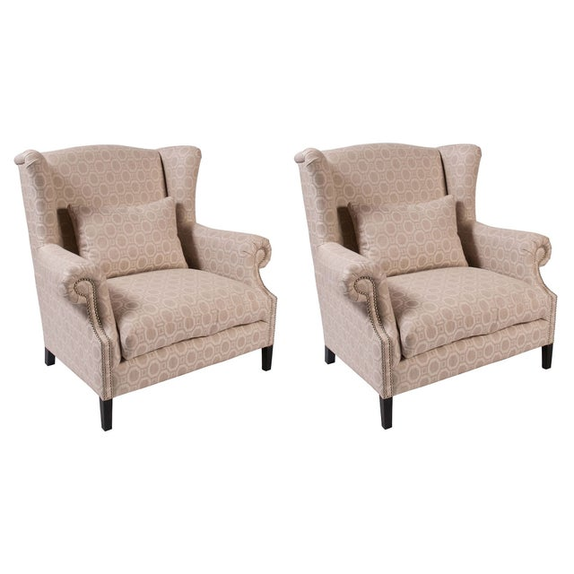 Eggshell Pattern Wingback Chairs - A Pair - Image 1 of 2