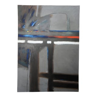 """Javelin by William Metclaf 1986 Abstract Acrylic Oil Painting Expressionism 68"""" For Sale"""