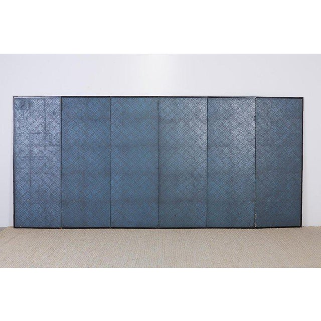 Japanese Six Panel Screen of Cranes by the Sea For Sale - Image 12 of 13