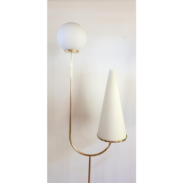 Metal Large Mid-Century Modern Marble, Brass & Glass Floor Lamps, Italy 1960s - a Pair For Sale - Image 7 of 12