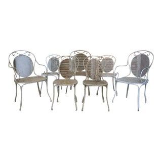 Set of 7 Vintage French Iron Garden Chairs For Sale
