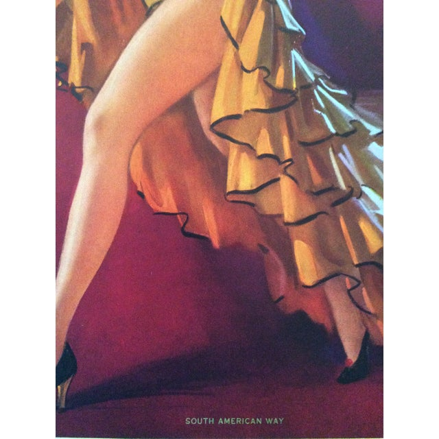 1940's Jules Erbit South American Way Pin Up Print For Sale - Image 4 of 7
