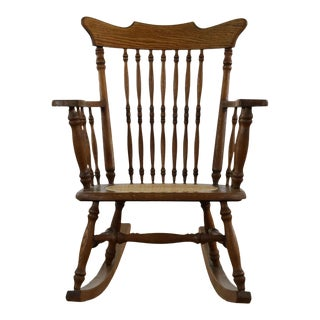 Antique Spindle Back Oak Rocking Chair For Sale