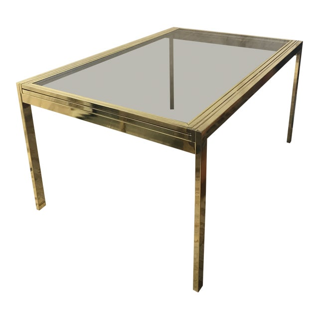 1970s Modern Milo Baughman Glass Top Extension Dining Table For Sale