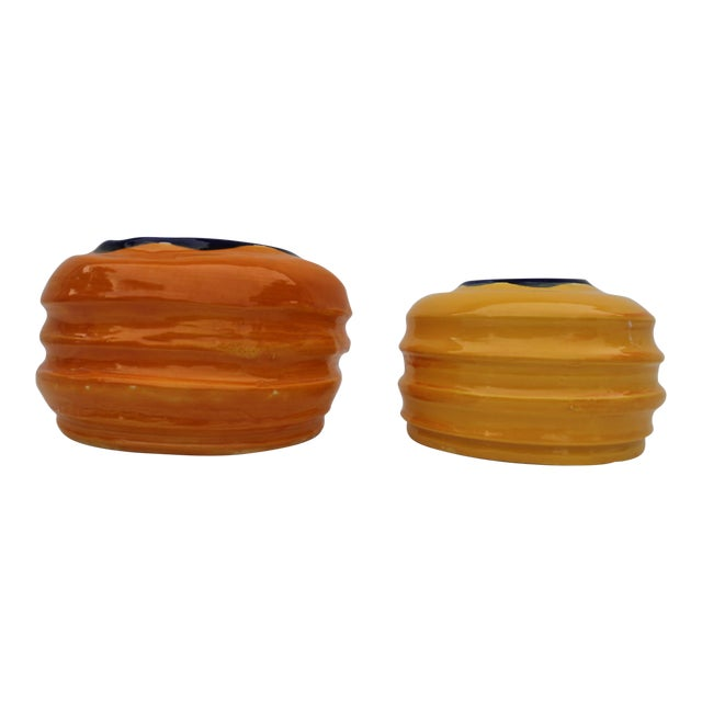 Vintage Colorful Art Ceramic Vases - a Pair - Image 1 of 6