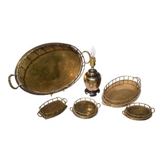 Mid -Century Modern Brass Bamboo Trays & Ginger Jar Lamp. For Sale