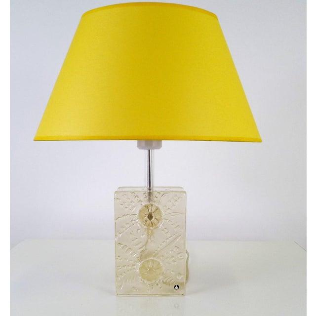 1960s Swedish Modern Pukeberg Ice Glass Table Lamp For Sale - Image 11 of 11