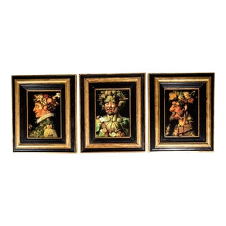 Mid-20th Century Figurative Portrait Oil Painting on Board - Set of 3 For Sale