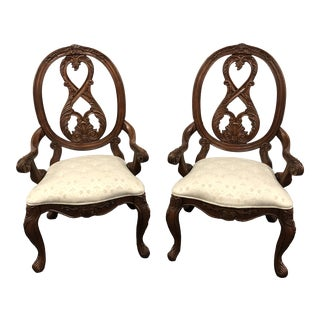 Vintage Solid Cherry Arm Chairs - a Pair by American Drew For Sale