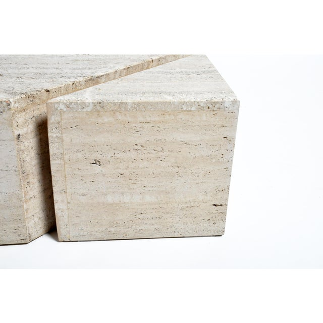 Stone Italian Travertine Marble Three-Part Polygon Coffee Table For Sale - Image 7 of 13