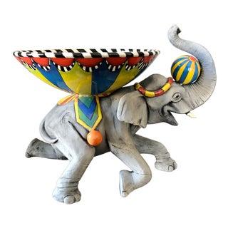 Dan Nisha Ferguson Ceramic Circus Elephant Bowl Sculpture For Sale