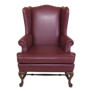 Queen Anne Stretcher Base Maple Wing Chair With Faux Leather For Sale