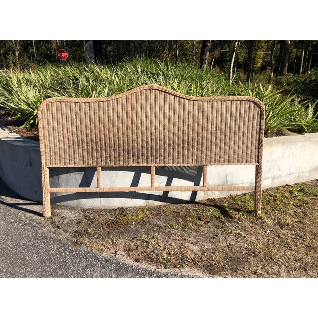 Brown Vintage Rattan King Headboard For Sale - Image 8 of 9