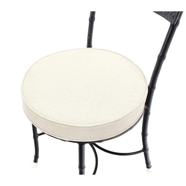 Cast Aluminum Faux Bamboo and Cane Round Seat Chairs - Set of 4 For Sale - Image 6 of 11