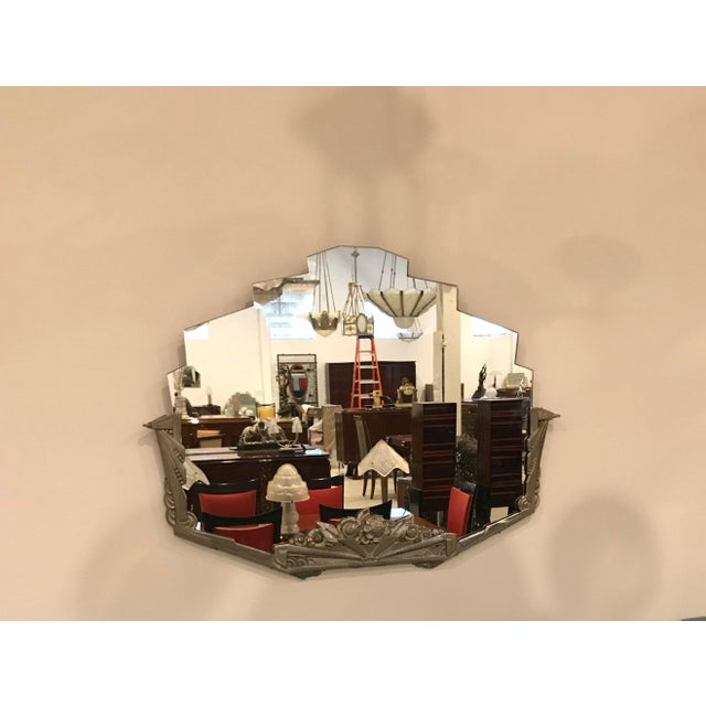 Art Deco French Art Deco Geometric and Floral Wall Mirror With Skyscraper Motif For Sale - Image 3 of 10