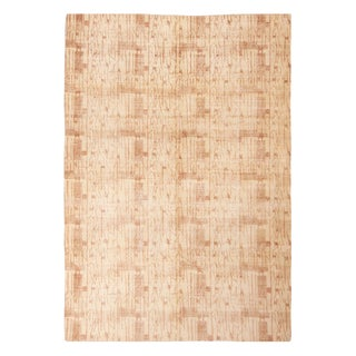 Contemporary Maze Design Geometric Beige Wool Rug - 6′7″ × 9′4″ For Sale