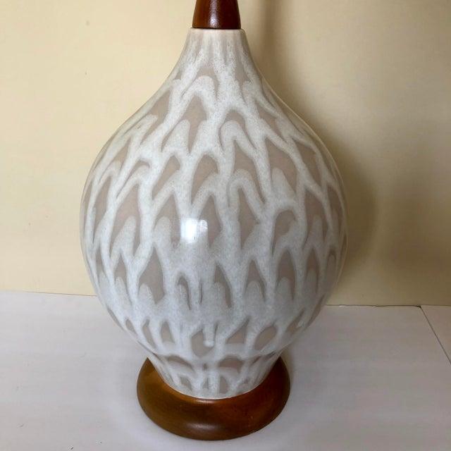 Mid-Century Modern Mid Century Danish Pottery Teak Table Lamp For Sale - Image 3 of 5