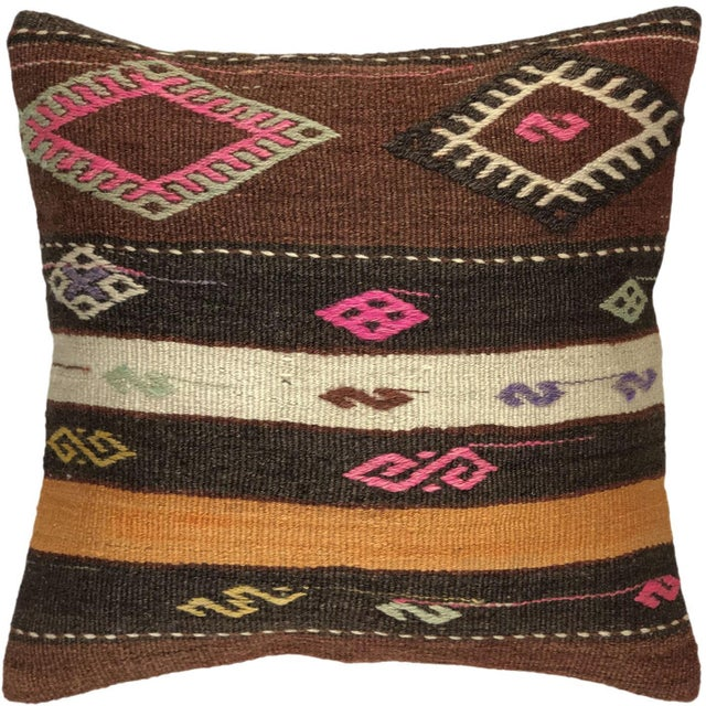 "Mid-Century Modern Southwest Stripe Kilim Pillow | 20"" For Sale - Image 3 of 3"