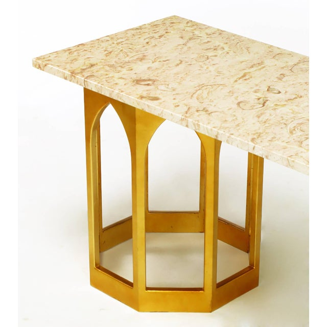 Marble Top Console Table with Twin Gilt Octagonal Bases - Image 5 of 7