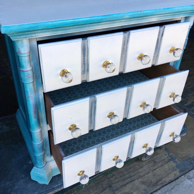 Pulaski Furniture three drawer nightstand, dresser, or commode. This piece has been rehabbed in shabby chic, also refit...