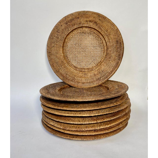 """Tan Vintage Extre-Large 18"""" Open Weave Wicker Chargers, Set of 8 For Sale - Image 8 of 8"""