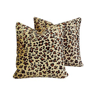 Custom Leopard Spot Cowhide & Velvet Feather/Down Pillows - Pair For Sale