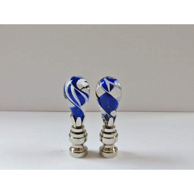 Cobalt Swirl Blown Glass Finials - a Pair - Image 4 of 4