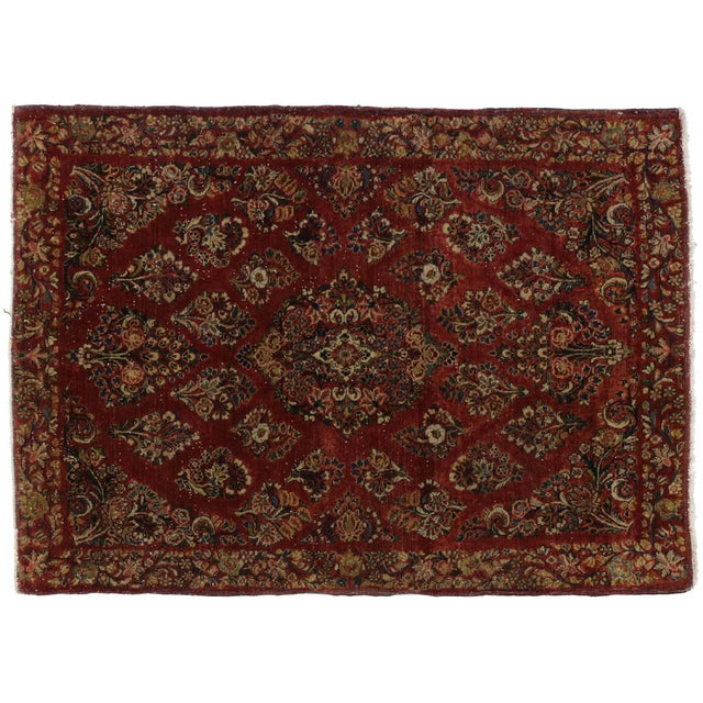 Antique Sarouk Persian Rug With Traditional Style - 03'04 X 04'08 For Sale - Image 10 of 10