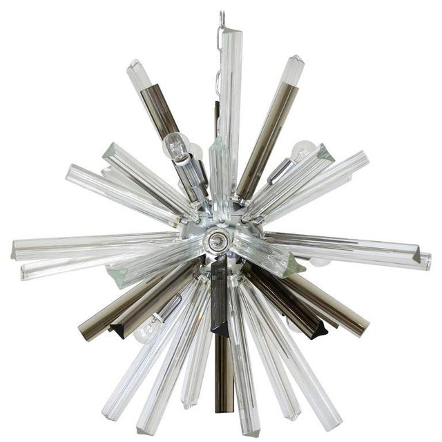 Silver Italian Mid-Century Murano Glass Chandelier by Venini For Sale - Image 8 of 8
