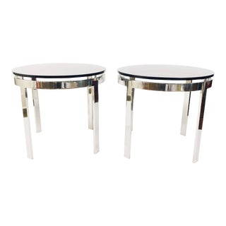 "Mid-Century Chromed Heavy Steel Side Tables with 1/2"" Grey Glass"