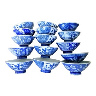Set of 15 Small Blue and White Chinoiserie Appetizer Finger Soup Bowls For Sale