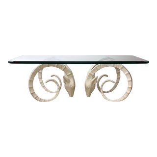 Hollywood Regency Sculptural Ibex Double Gazelle or Ram's Heads Coffee Table For Sale