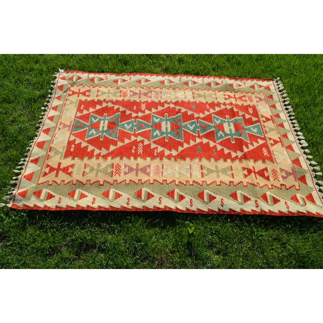 3.9X5.8Ft Turkish anatolian antique carpet geometrical design cappadocia red color Kilim size: 3.9 X 5.8 Ft (120 x 177 cm)...