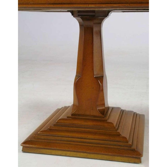 Pair Spanish Revival Maple & Portugese Travertine Side Tables - Image 4 of 7