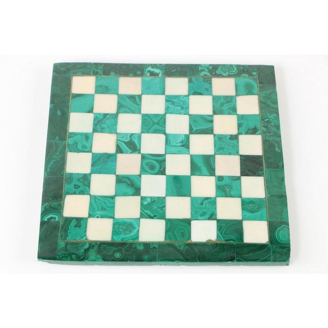 Vintage Malachite and Calcite Miniature Chess Set. Condition: Excellent condition- some minor scratches and nicks...